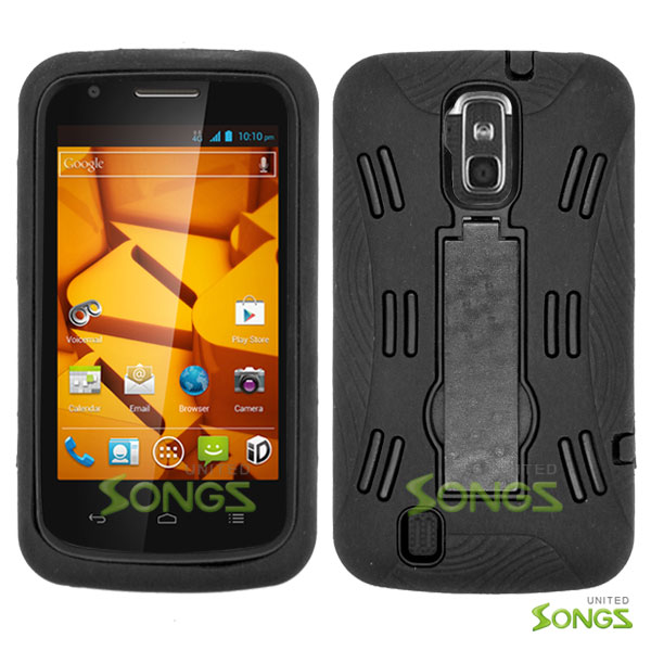 ZTE Force N9100 Heavy Duty Case with Kickstand  Black/Black