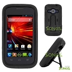 ZTE Concord II Z730(T-mobile, MetroPCS) Heavy Duty Case with Kickstand Black/Black