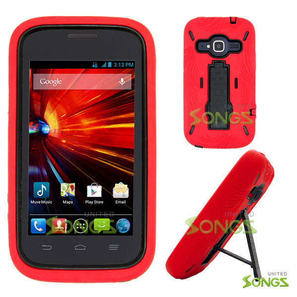 ZTE Concord II Z730(T-mobile, MetroPCS) Heavy Duty Case with Kickstand Red/Black