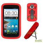 ZTE Z740G Sonata 4G/Radiant(AT&T) Heavy Duty Case with Kickstand Black/Red