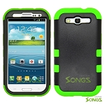 Samsung Galaxy S3 S III i9300 (for any Carriers)  Heavy Duty Case Soft Inside Black/Green