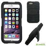 iPhone 6S/6 Heavy Duty Case with Kickstand & Screen Protector Black/Black