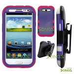 Samsung Galaxy S3 S III i9300 (for any Carriers)  Heavy Duty Case Soft Inside Purple/Pink