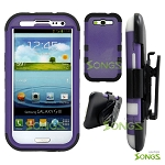 Samsung Galaxy S3 S III i9300 (for any Carriers)  Heavy Duty Case Soft Inside Purple/Black