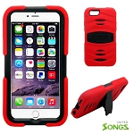 iPhone 6S/6 Heavy Duty Case with Kickstand & Screen Protector Red/Black