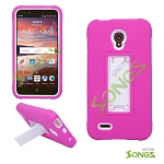 Alcatel One Touch Conquest 7046T Heavy Duty Case with Kickstand Pink/White