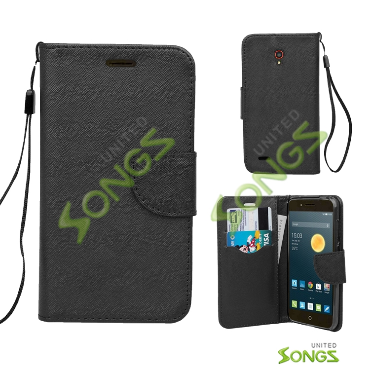 Alcatel One Touch Conquest 7046T Wallet Case Black