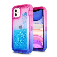 iPhone 11 New HVDQ Dual Layer Heavy Duty Liquid Glitter Defender Case Pink/Blue