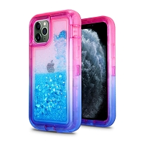 iPhone 11 Pro Max New HVDQ Dual Layer Heavy Duty Liquid Glitter Defender Case Pink/Blue