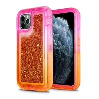 iPhone 11 Pro Max New HVDQ Dual Layer Heavy Duty Liquid Glitter Defender Case Pink/Gold