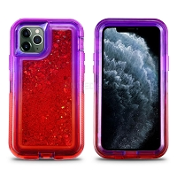 iPhone 11 Pro Max New HVDQ Dual Layer Heavy Duty Liquid Glitter Defender Case Purple/Red
