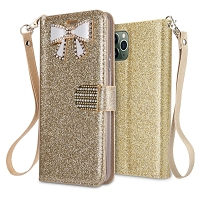 iPhone 11 Pro Max New Sparkle Diamond Wallet Case Gold