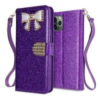 iPhone 11 Pro Max New Sparkle Diamond Wallet Case Purple
