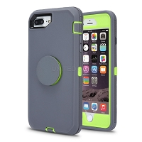 iPhone 8 Plus/7 Plus/6 Plus New Heavy Duty Defender Case With Pop Holder Gray/Green