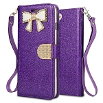 iPhone 8 Plus/7 Plus/6 Plus Sparkle Diamond Wallet Case With Butterfly Design Purple