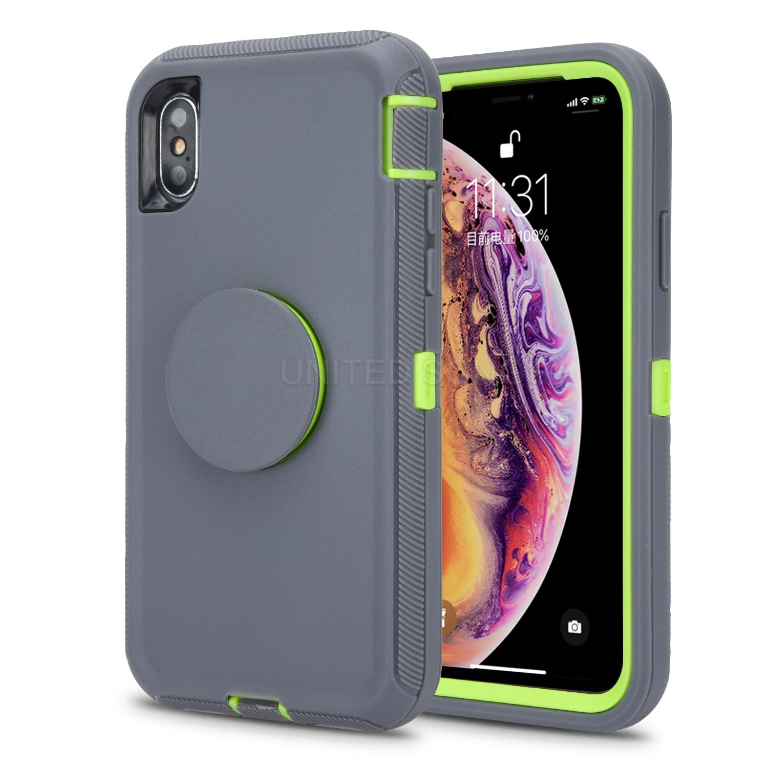 iPhone 11 Pro Max New Heavy Duty Defender Case With Pop Holder Gray/Green