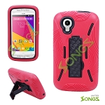 BLU Dash Music JR D390 Dash C Music D380 Heavy Duty Case with Kikstand Red/Black