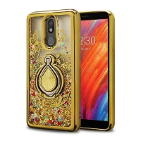 LG Tribute Royal/Aristo 4 Plus/K30 2019/Escape Plus/Arena 2 Liquid Glitter Case With Ring Gold