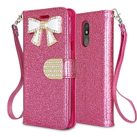 LG Tribute Royal/Aristo 4 Plus/K30 2019/Escape Plus/Arena 2 New Sparkle Diamond Wallet Case Pink