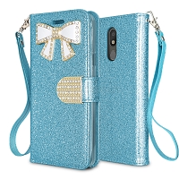 LG Tribute Royal/Aristo 4 Plus/K30 2019/Escape Plus/Arena 2 New Sparkle Diamond Wallet Case Blue