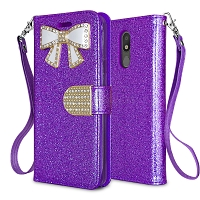 LG Tribute Royal/Aristo 4 Plus/K30 2019/Escape Plus/Arena 2 New Sparkle Diamond Wallet Case Purple