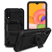 Samsung Galaxy A01 New SCC Heavy Duty Kickstand Case With Clip Black