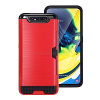 Samsung Galaxy A80/A90 New Hybrid Case With Card Holder Red