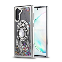 Samsung Galaxy Note 10 New Liquid Glitter Case With Ring Silver