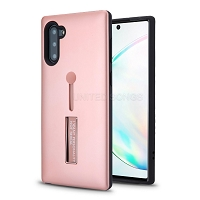 Samsung Galaxy Note 10 New Hybrid Finger Grip Case With Kickstand Rose Gold