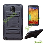 Samsung Galaxy Note 3 Note III N9002 N9005 Hybrid Kickstand Case with Hostel Belt Clip Black/Black