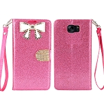 Sasmung Galaxy S6 Edge Sparkle Diamond Wallet Case With Butterfly Design Pink