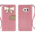 Sasmung Galaxy S6 Edge Sparkle Diamond Wallet Case With Butterfly Design Light Pink