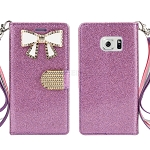 Sasmung Galaxy S6 Edge Sparkle Diamond Wallet Case With Butterfly Design Purple