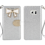 Sasmung Galaxy S6 Edge Sparkle Diamond Wallet Case With Butterfly Design Silver