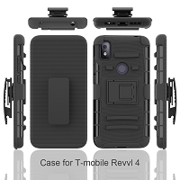 T-Mobile Revvl 4 New 3 in 1 Hybrid Magnetic Kickstand Case With Belt Clip Black