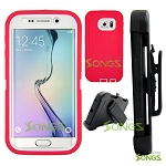 Samsung Galaxy S6 Edge Heavy Duty Case With Belt Clip Pink/White
