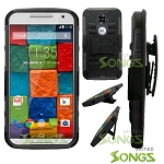 Motorola X(2nd-Gen) Hybrid Kickstand Case with Hostel Belt Clip Black/Black