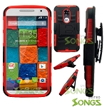 Motorola X(2nd-Gen) Hybrid Kickstand Case with Hostel Belt Clip Black/Red