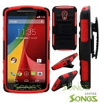 Motorola G(2nd-Gen) Hybrid Kickstand Case with Hostel Belt Clip Black/Red