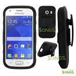 Samsung Galaxy Ace Style S765C (Unlocked) Hybrid Kickstand Case with Hostel Belt Clip (Super Combo) Black/Black