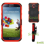 Samsung Galaxy S4 Hybrid Kickstand Case With Belt Clip Black/Red