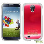 Samsung Galaxy S4 IV i9500 Metal Back Case Red/White