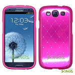 Samsung Galaxy S3 S III i9300 Metal Stars Case Pink/White
