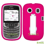 ZTE Aspect F555 Heavy Duty Case with Kickstand Pink/White